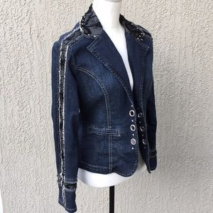Ethyl Vintage Lace & rhinestones Jean jacket Small